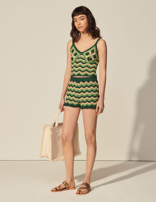 Crochet Knit Shorts : Skirts & Shorts color Green