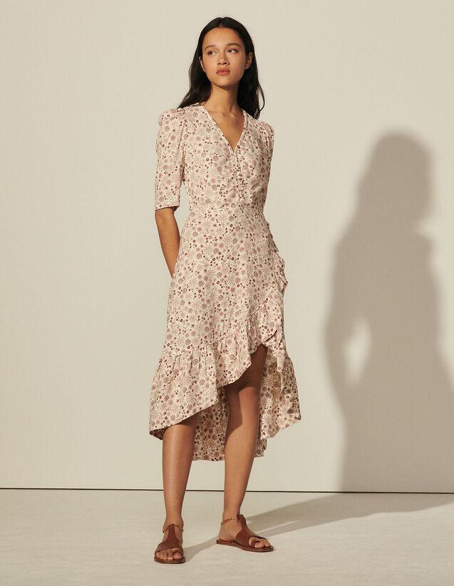 Long Printed Asymmetric Dress : Dresses color Ecru