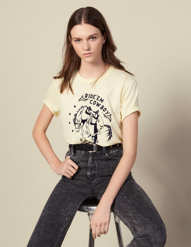 T-Shirt With Contrasting Embroidery : T-shirts color Light Yellow