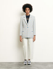Tailored Jacket In Houndstooth Tweed : View All color Blue sky