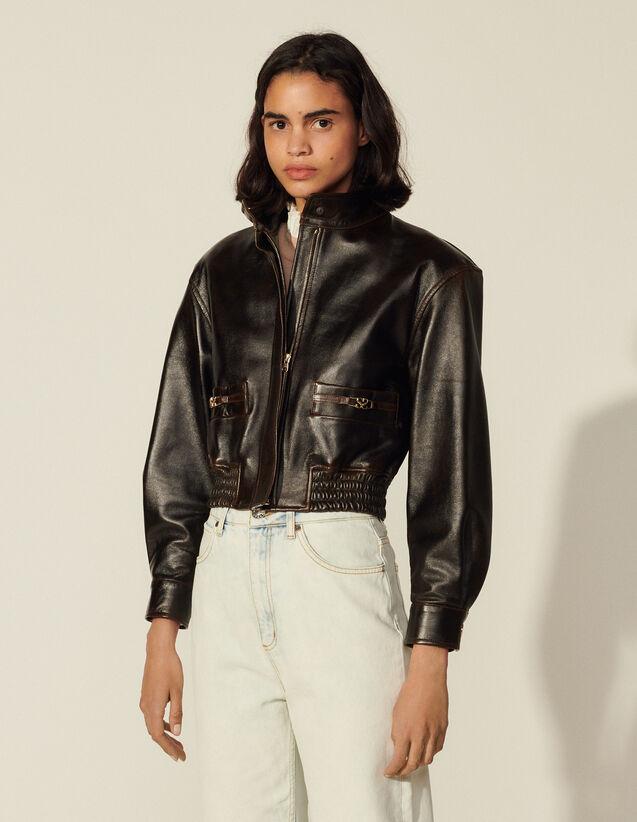 Leather Aviator Jacket : Blazer & Jacket color Black Brown