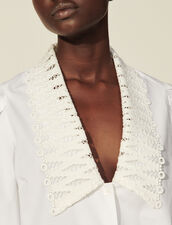 Shirt With Large Lace Collar : Shirts color white