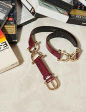 Crocodile Embossed Leather Belt : Belts color Bordeaux
