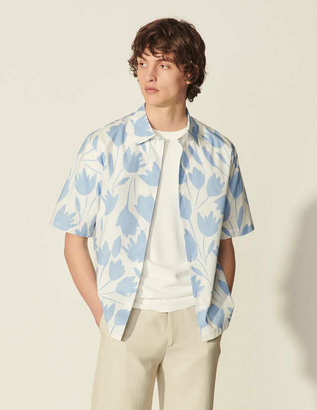 Short-Sleeved Printed Shirt : Shirts color Flower Blue light-white