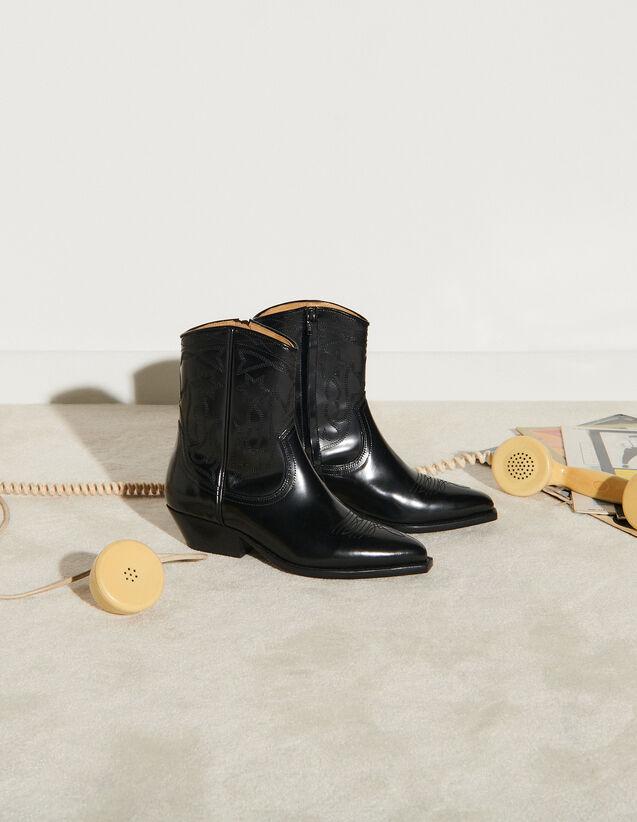Leather Cowboy Boots : Boots color Black