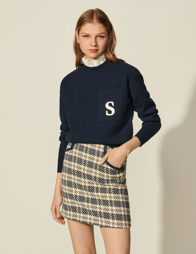 Sweater With Contrasting Ruffled Collar : Sweaters & Cardigans color Beige