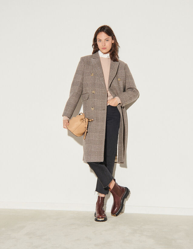 Long Checked Coat : Coats color Beige / Grey