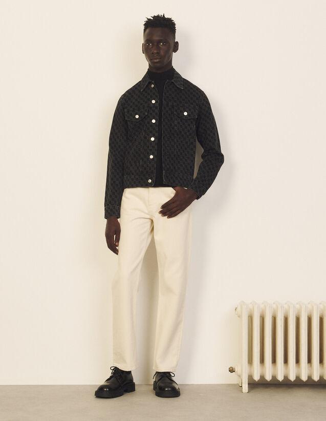 Laser-Printed Denim Jacket : Trench coats & Coats color Black