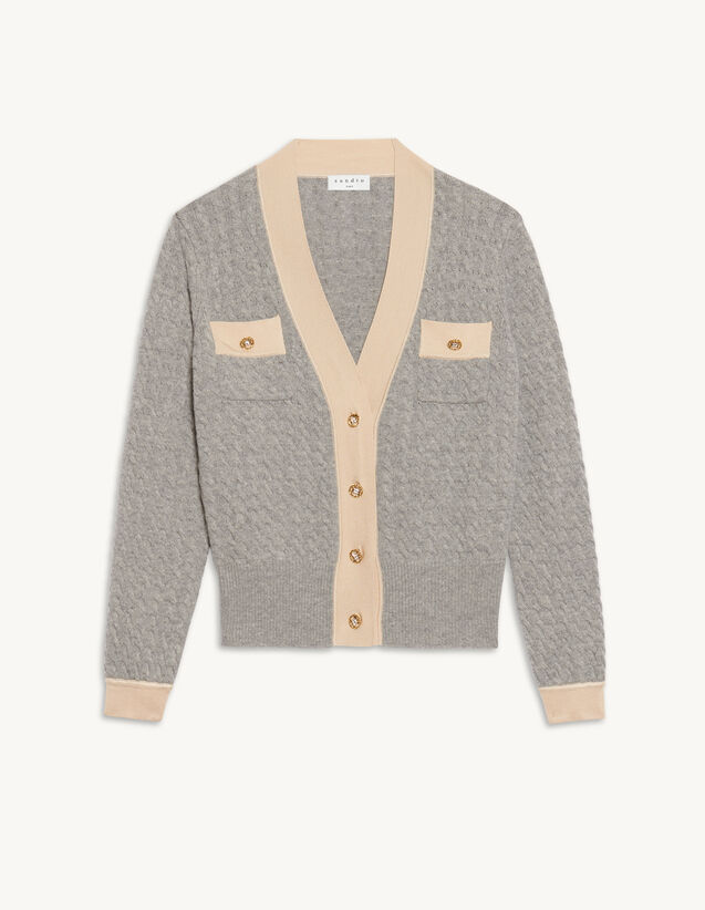 Cable Knit Cropped Cardigan : Sweaters & Cardigans color Grey