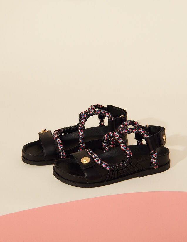 Flat Leather Sandals : Shoes color Black