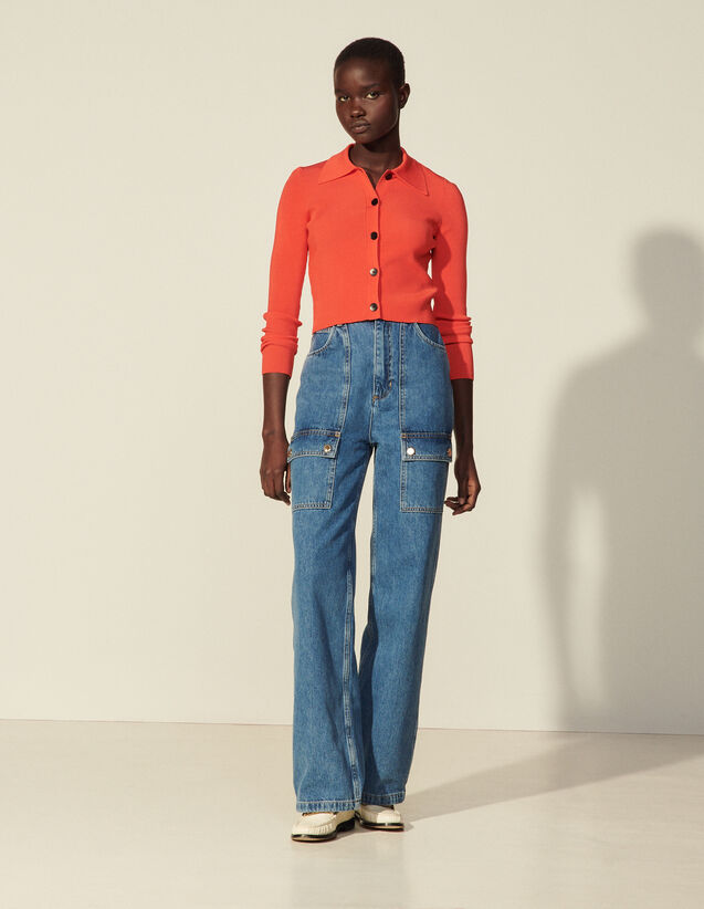 Wide-Leg Jeans With Patch Pockets : Jeans color Bleu Denim