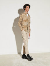Printed Flowing Shirt : Best Of The Season color Beige