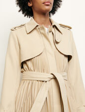 Pleated Trench Coat With Belt : Coats color Beige
