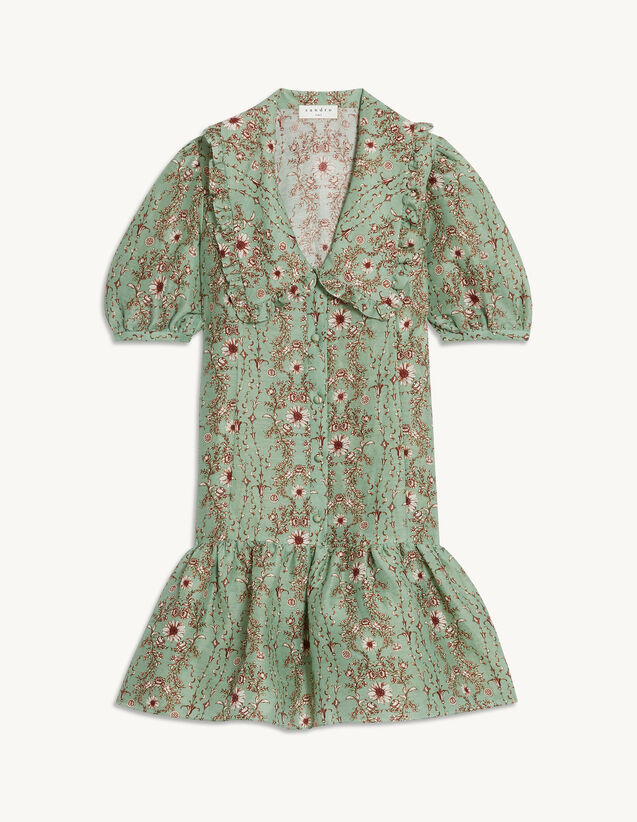 Short Printed Dress With Large Collar : Dresses color Green