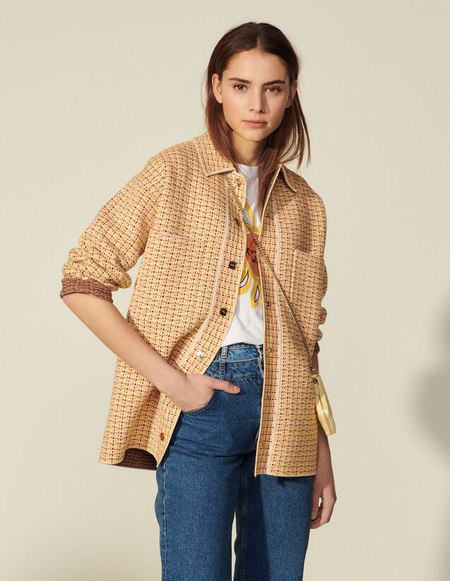 Tweed Overshirt-Style Cardicoat : Sweaters & Cardigans color Yellow