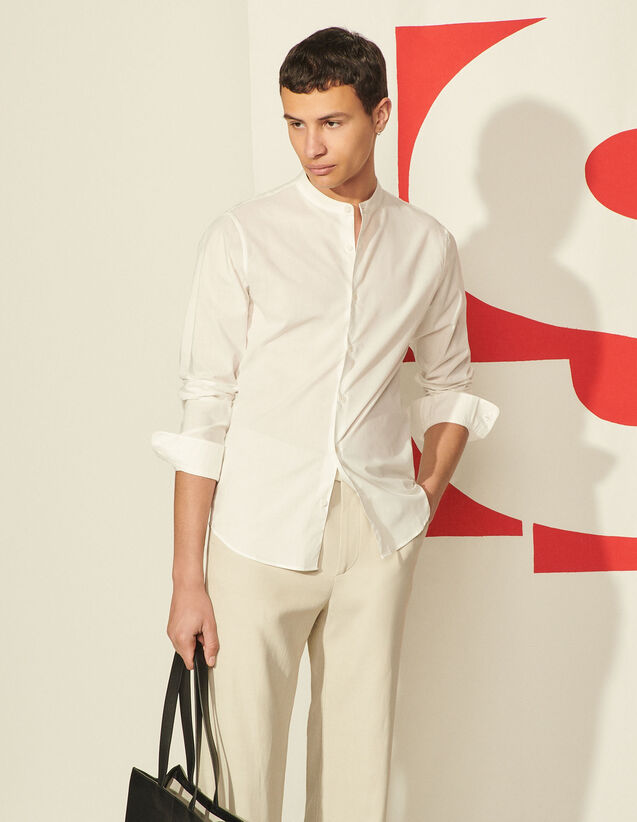 Cotton Shirt With Mandarin Collar : Shirts color white