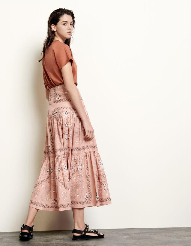 Long Voluminous Printed Skirt : Skirts & Shorts color Powder