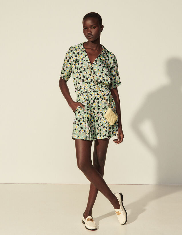 Printed Playsuit : Jumpsuits color Green / Black