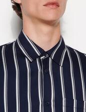 Striped Viscose Shirt : Shirts color Navy Blue