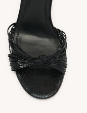 Embossed Leather Sandals : Shoes color Black