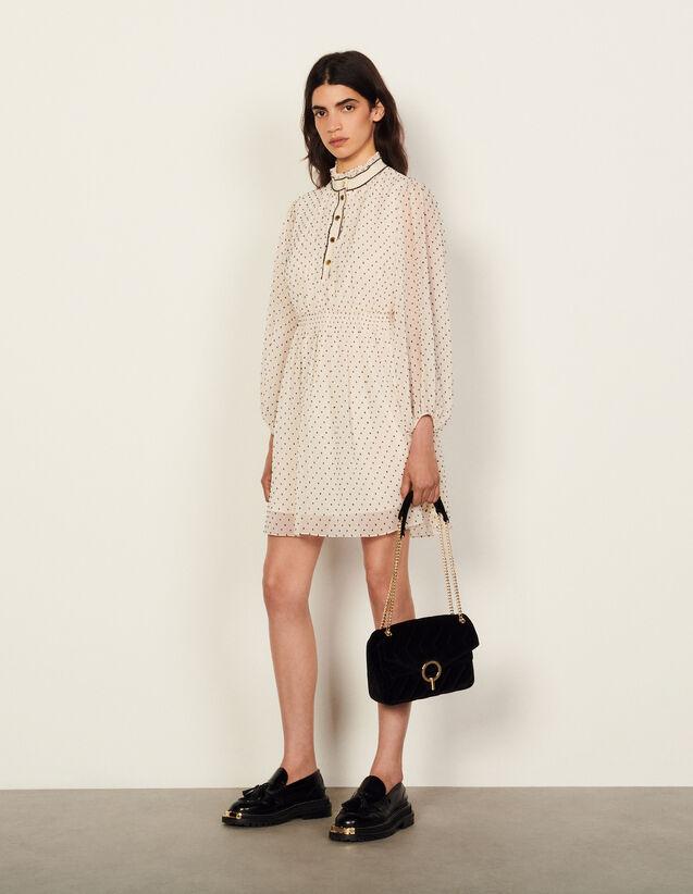 Short Dotted Swiss Dress : Dresses color White / Blue