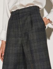 Wide-Legged 7/8-Length Checked Trousers : Pants color Charcoal Grey