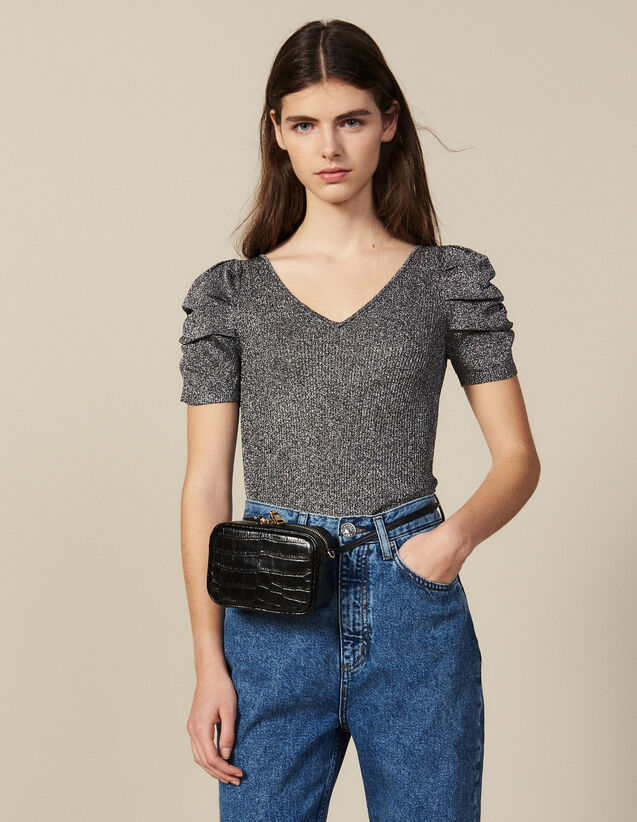 Lurex Knit Top With Puff Sleeves : T-shirts color Silver