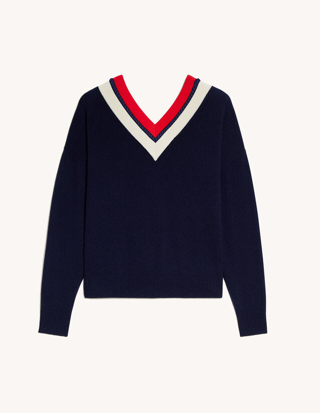 Striped V-Neck Sweater : Sweaters & Cardigans color Navy Blue