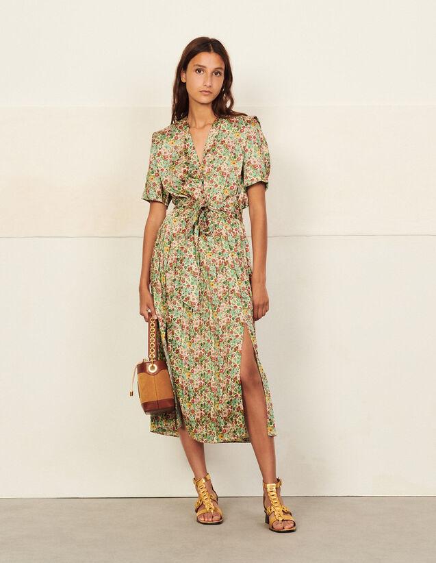 Long Printed Dress : Dresses color Green / Pink