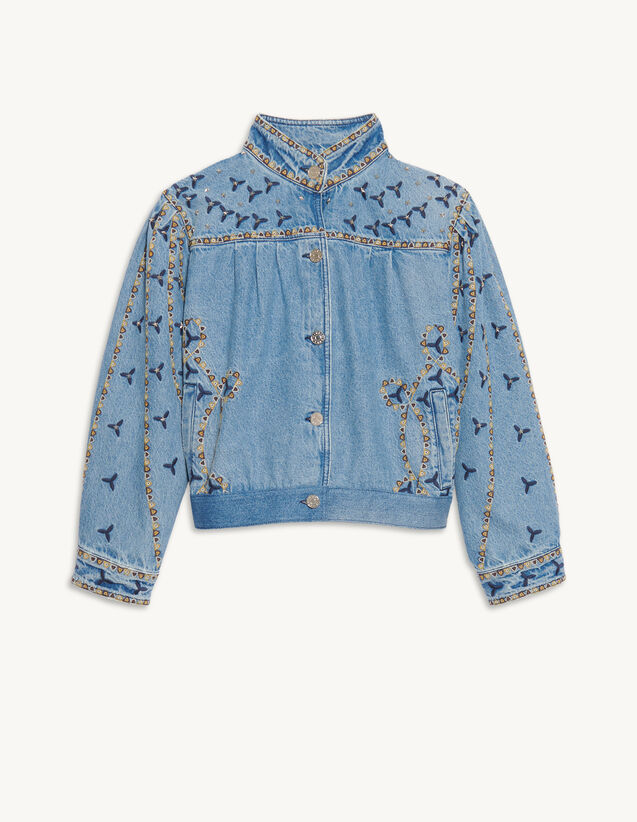 Denim Jacket With Embroidery And Studs : Blazers & Jackets color Blue Jean