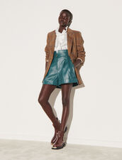 Leather Shorts With Wide Turn-Up Hems : Skirts & Shorts color Green Duck
