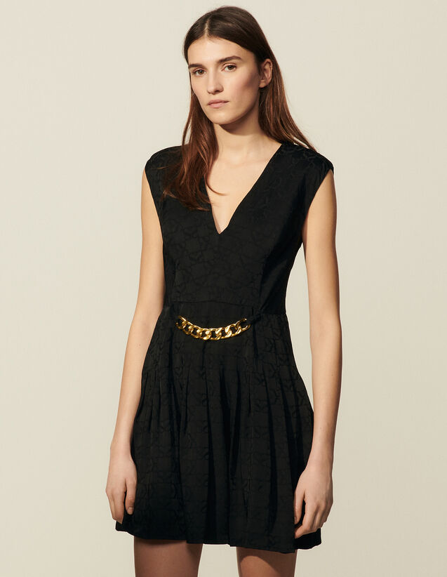 Short Tone-On-Tone Jacquard Dress : Dresses color Black