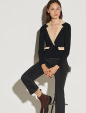 Cropped Cardigan With Contrasting Collar : Sweaters & Cardigans color Black