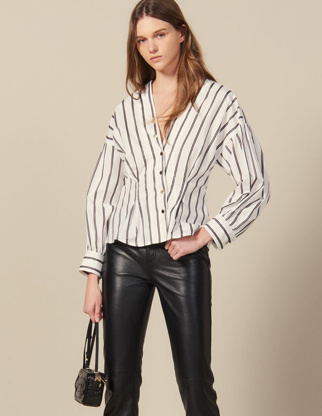 Striped Poplin Fitted Shirt : Shirts color white