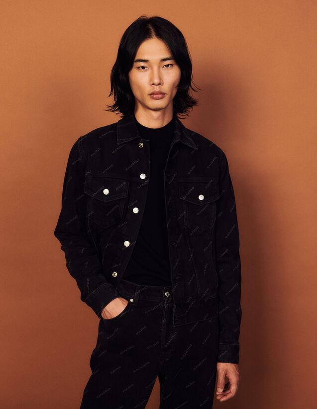 Printed Denim Jacket : Trench coats & Coats color Black