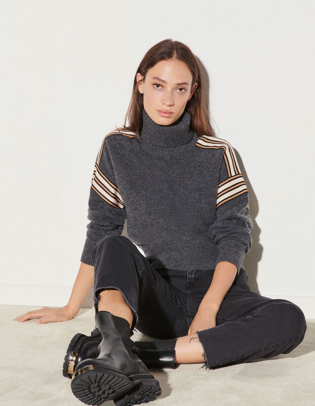 Roll Neck Sweater With Fancy Braid Trim : Sweaters & Cardigans color Charcoal Grey