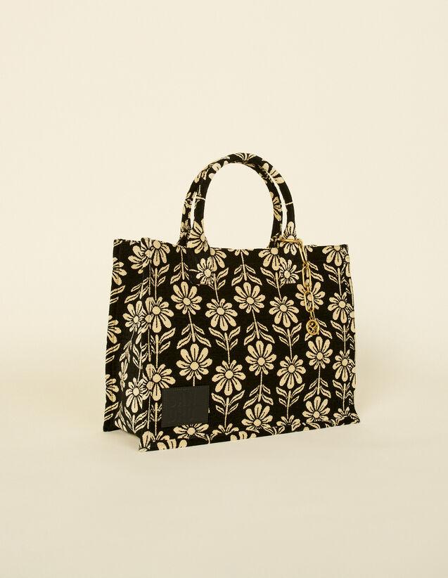Daisy Jacquard Tote Bag : My Kasbah Bag color Ecru / Black
