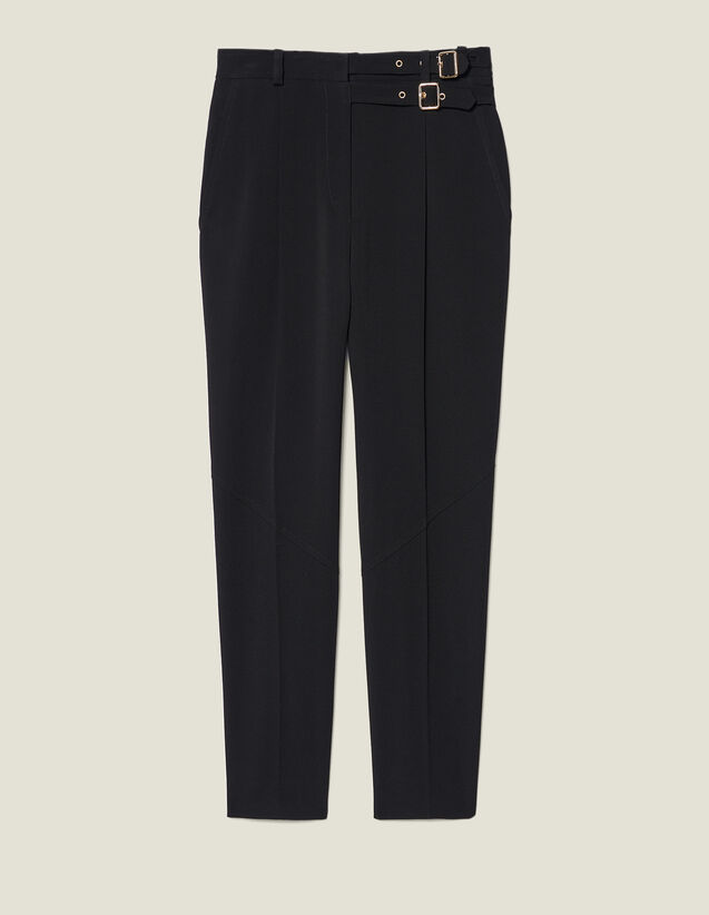 High-Waisted Trousers With Buckles : Trousers & Jeans color Black