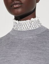 Sweater With Contrasting Smocked Collar : Sweaters & Cardigans color Dark Grey