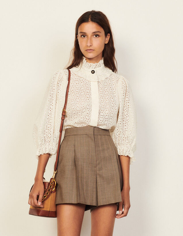 Checked Shorts : Skirts & Shorts color Taupe