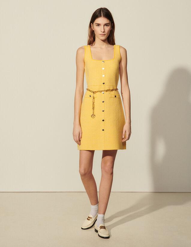 Short Tweed Dress : Dresses color Yellow