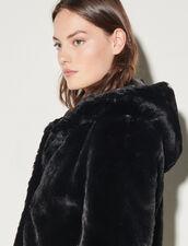 Faux Fur Hooded Jacket : Blazer & Jacket color Black