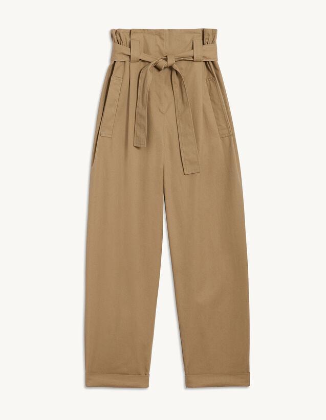Trousers With Tie Belt : Belts color Camel