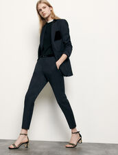 Straight Tailored Trousers : Pants color Navy Blue