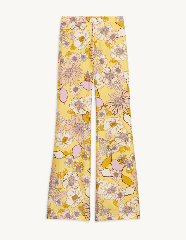 Loose-Fitting Printed Trousers : Pants color Yellow / Lilac