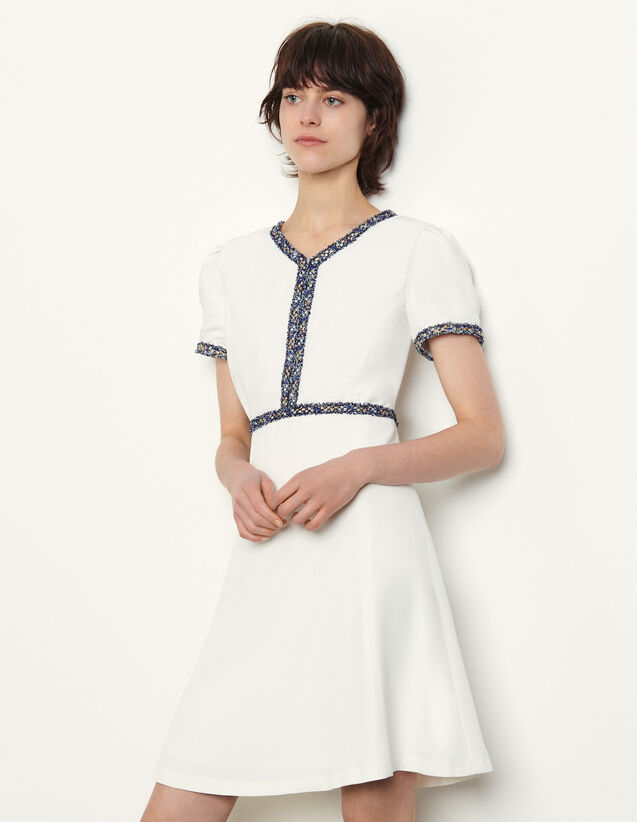 Short Dress With Fringed Trim : Dresses color white