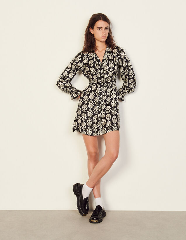 Short Printed Silk Dress : Dresses color Ecru / Black