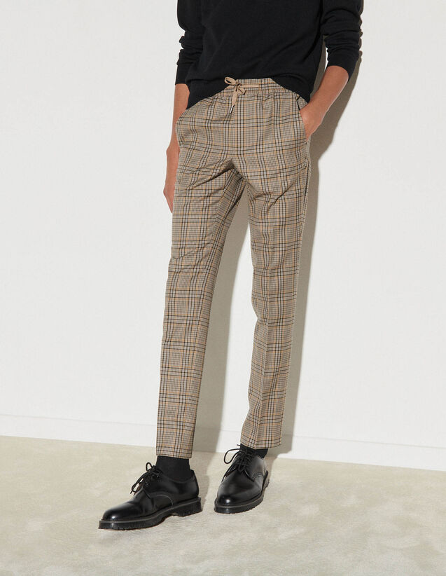 Checked Trousers : Pants & Shorts color Beige