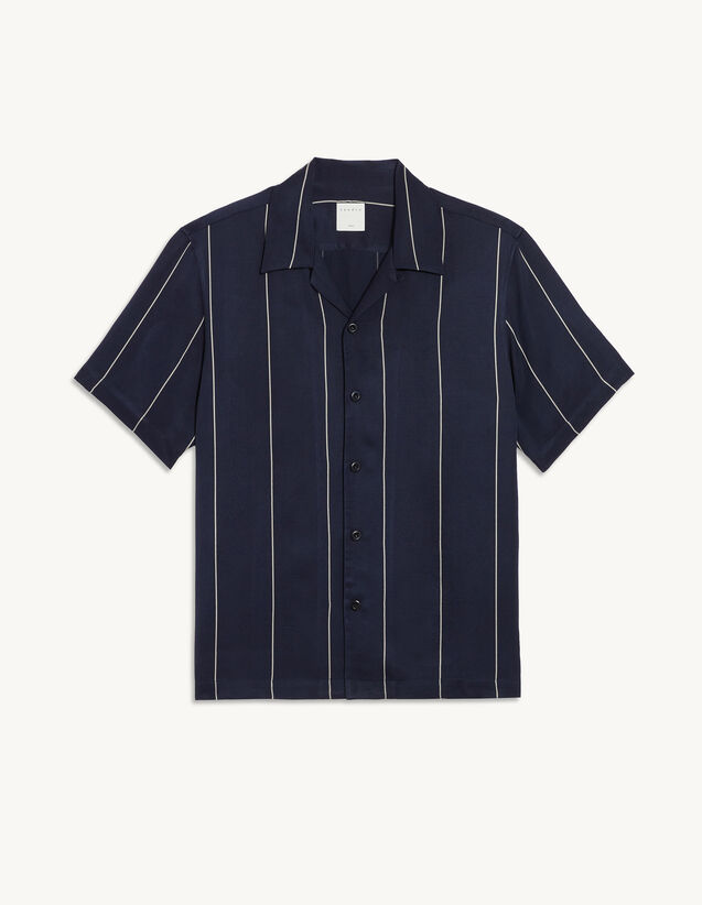 Flowing Shirt With Woven Stripes : Shirts color Navy Blue