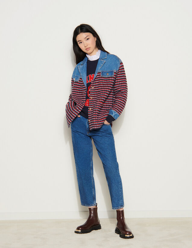 Fancy Tweed And Denim Jacket : Blazer & Jacket color Navy / Red